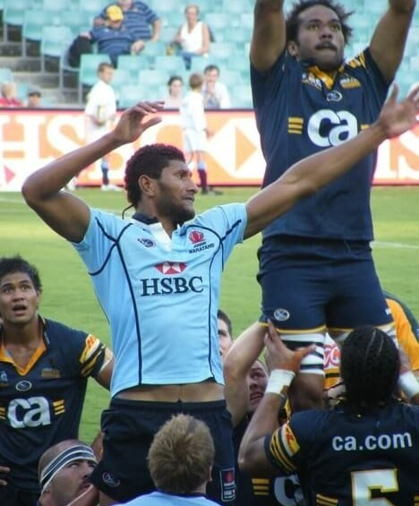 sitiveni mafi and sokai tai jumping for the rugby ball in a line-out