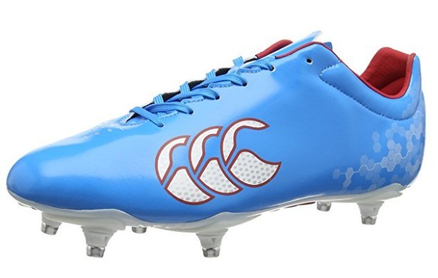 A blue Canterbury Speed Club 6 Stud Rugby Boot