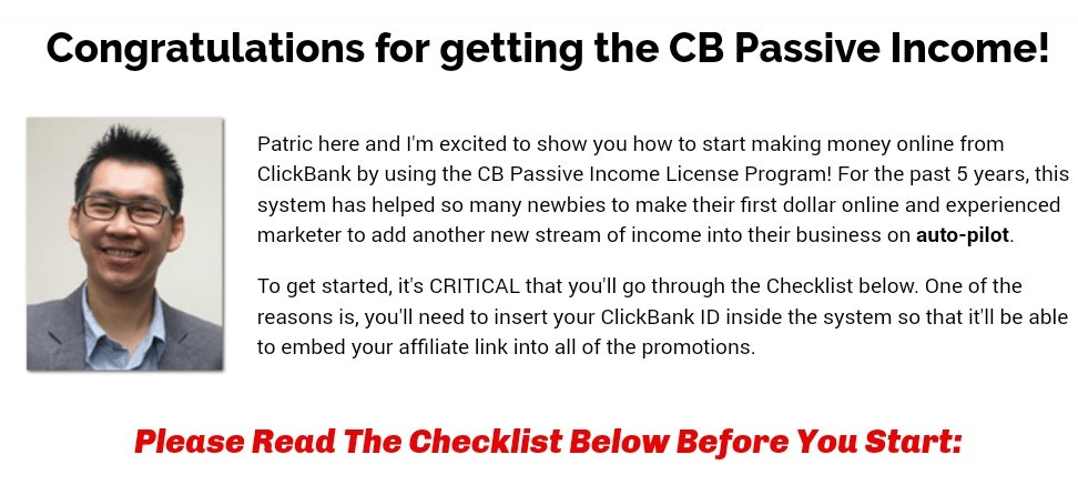 Congratulations message for buying cb passive income 5.0 screenshot