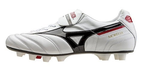 A white Mizuno Men's MORELIA II rugby boot