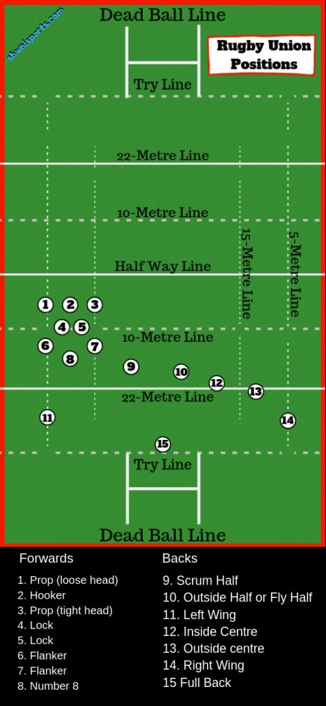 Rugby union positions and numbers explained on a diagram of a rugby field