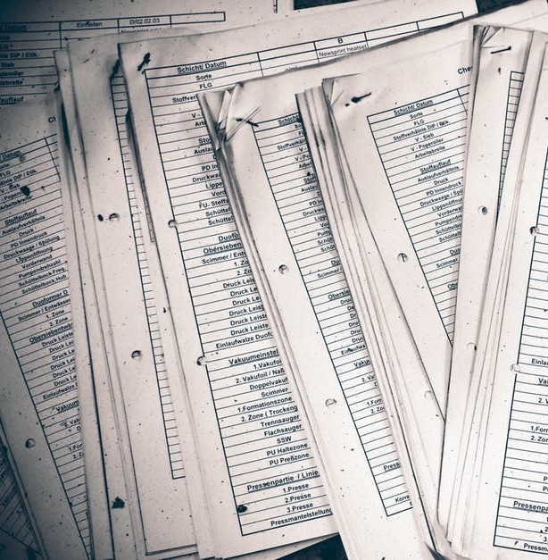 paperwork full of lists