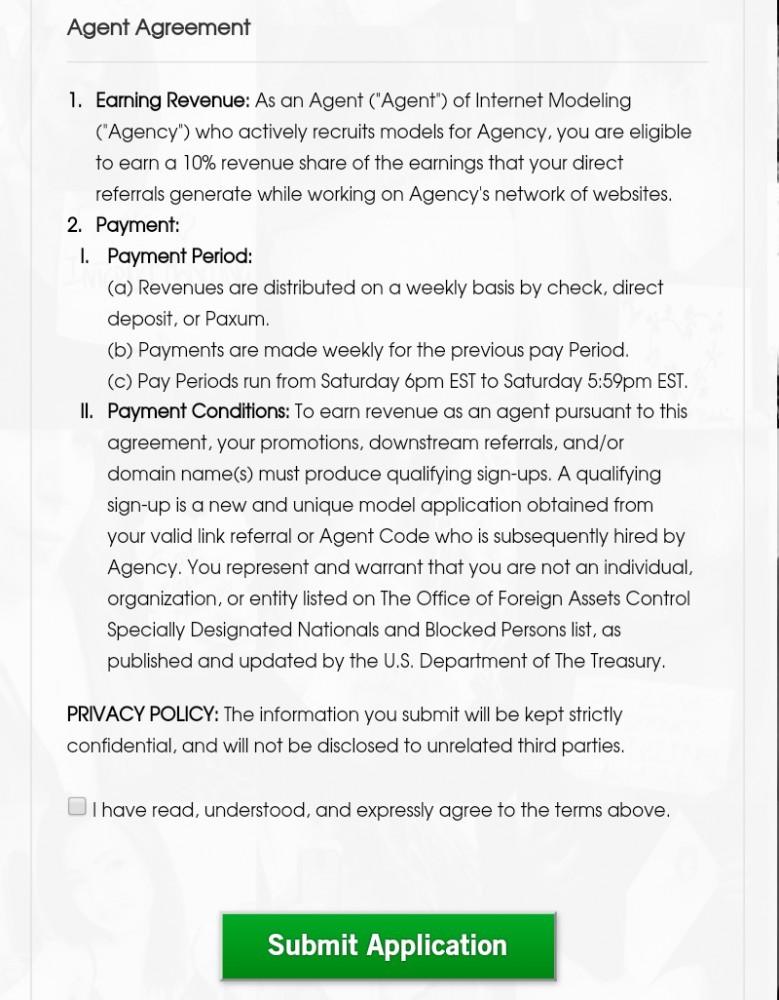 Agent form agreement screenshot part 3