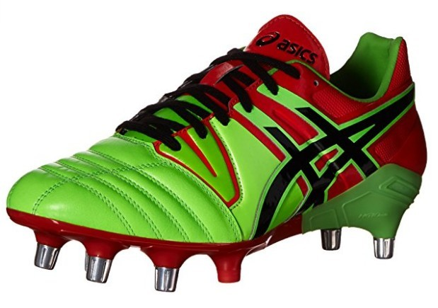 A green and red ASICS Men's GEL-Lethal Tight 5 Soccer Shoe