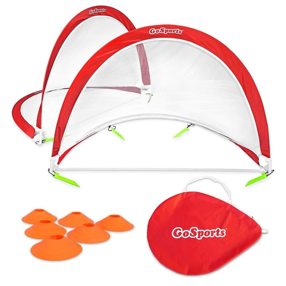 GoSports Foldable Pop Up Soccer Goals, Set of 2, With Agility Training Cones