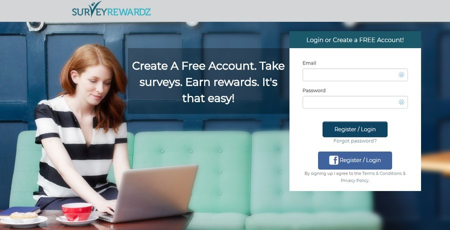 survey rewardz free account sign up page