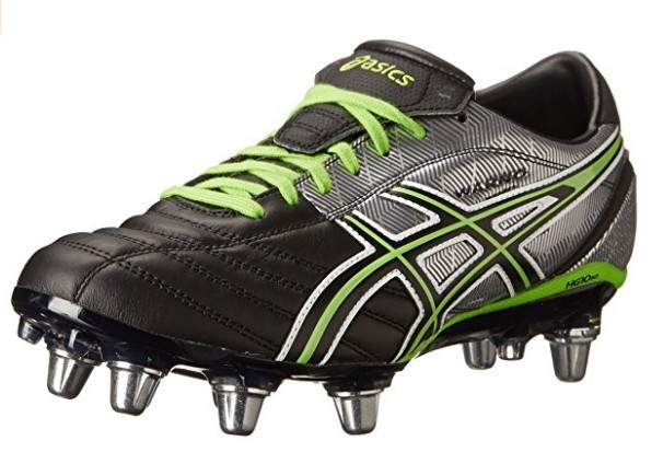 A green, black, and silver ASICS Men's Lethal Warno Field rugby boot