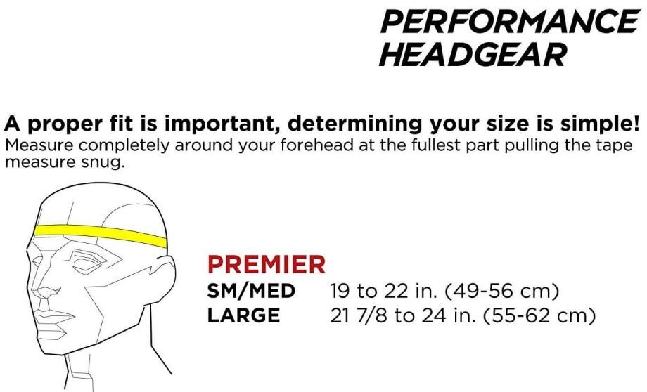 The full 90 soccer headgear size-chart