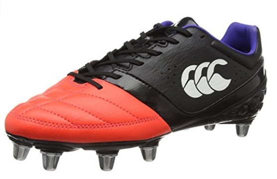 A black and orange Canterbury Phoenix Club 8 Stud Rugby Boot
