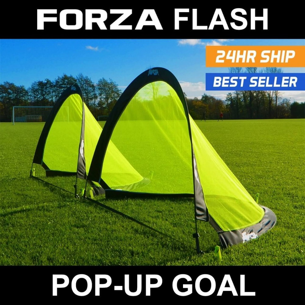A set of 6 foot Forza Flash Pop-Up Soccer Goals