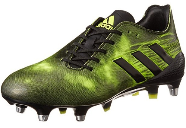 A green and black Adidas Crazyquick Malice SG Rugby Boot