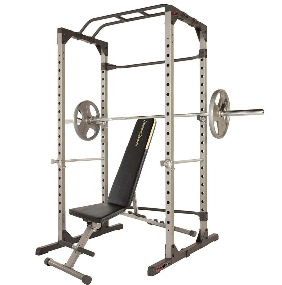 Super Max Power Cage with a bench and weight bar
