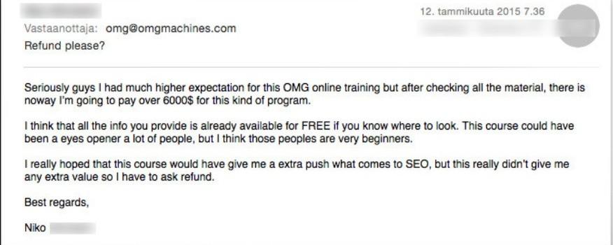 OMG machines scam no refunds