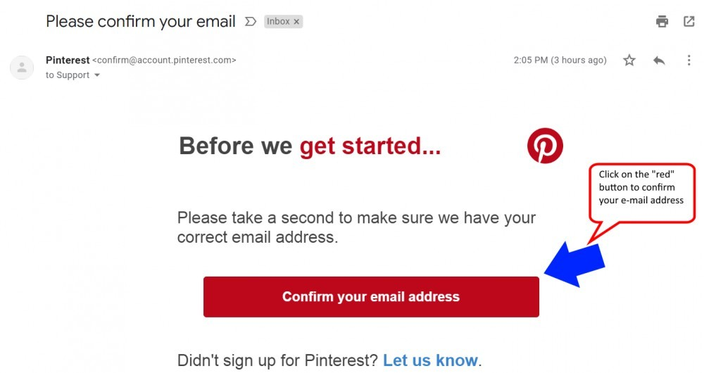 Confirmation e-mail by Pinterest