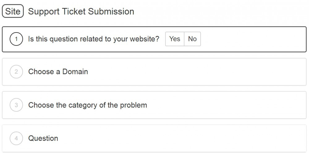 SiteSupport ticket submission page