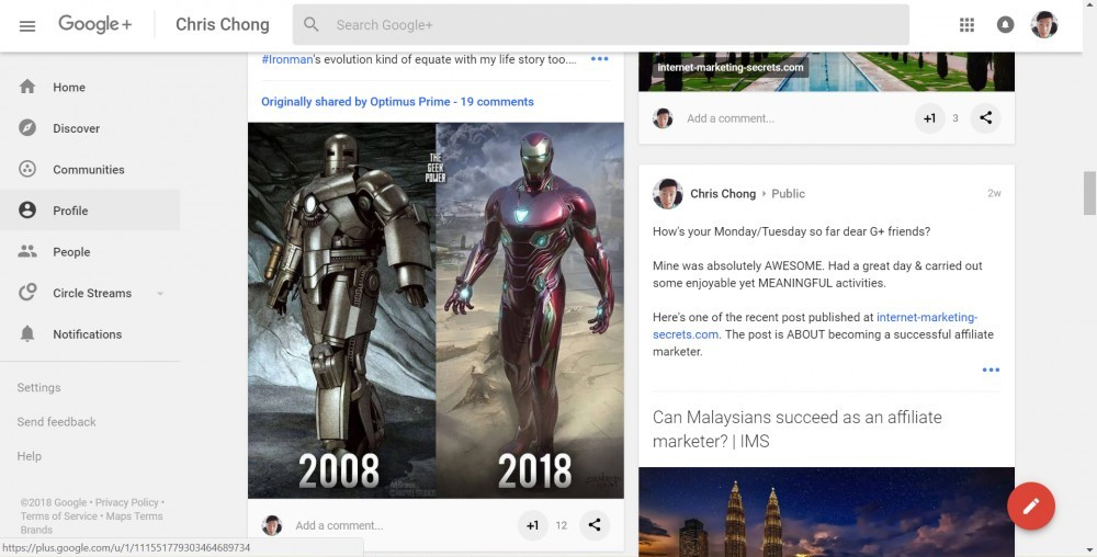 Example for posts variety on my G+ profile - 2