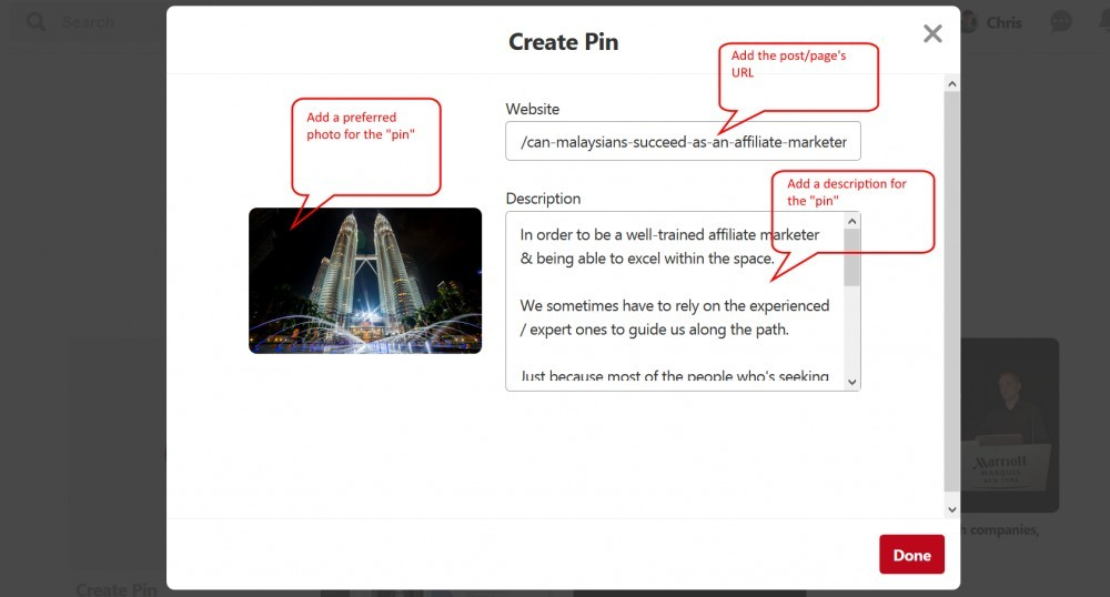 Adding URL, description & featured image for the pin