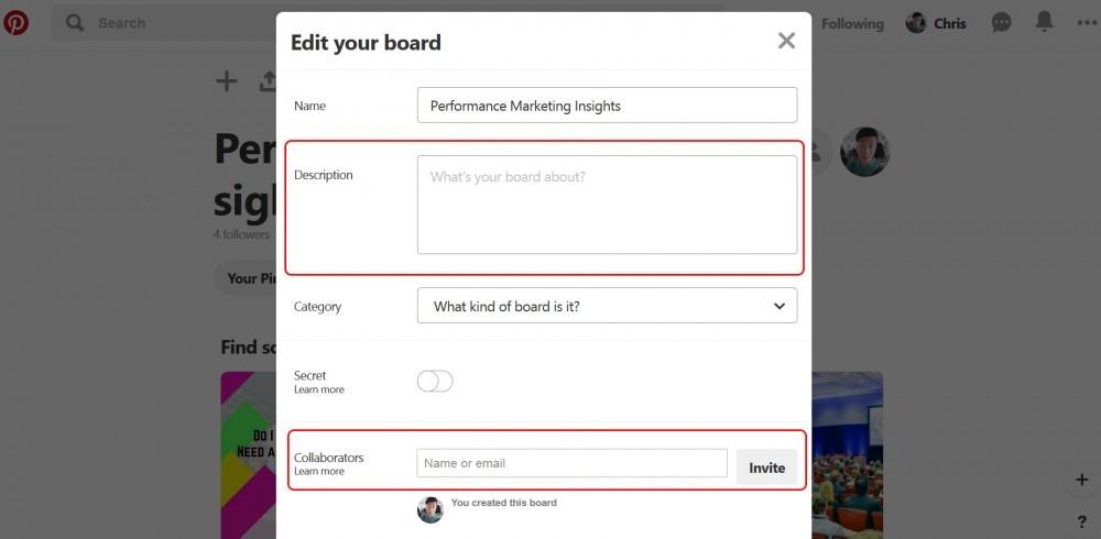 Typing a description for the board & adding collaborators