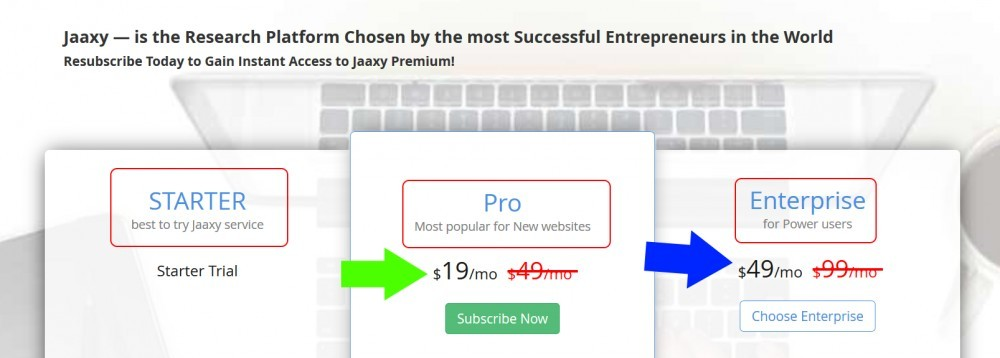 Jaaxy's pricing table