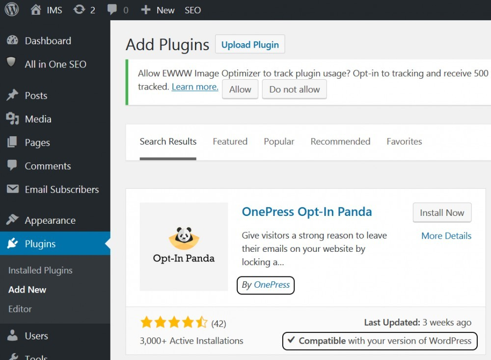 Optin Panda WP plugin by OnePress