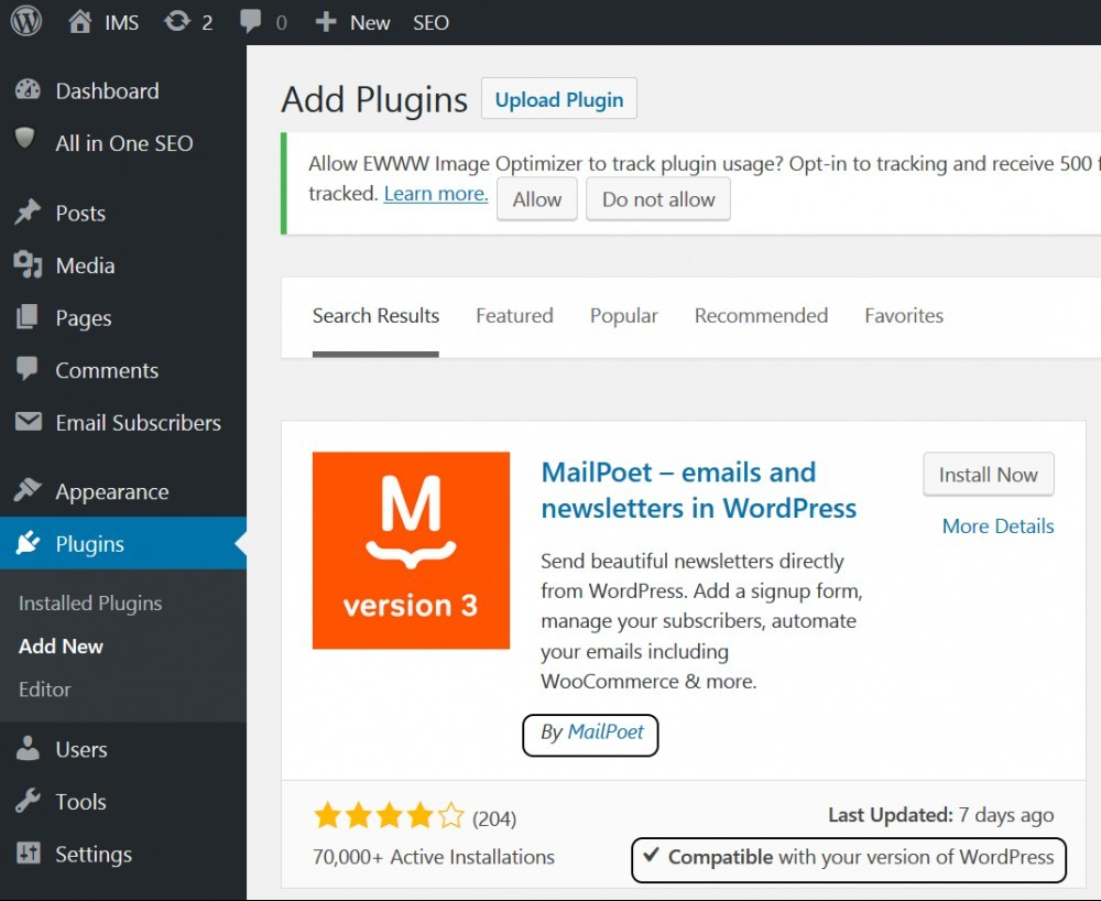 MailPoet WP plugin by MailPoet