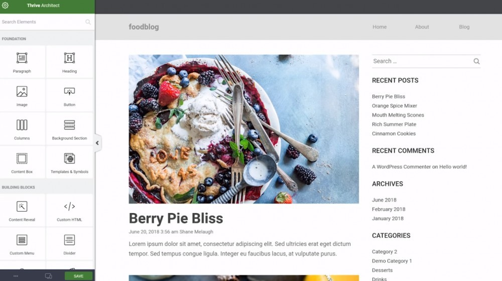 Thrive Themes in action (editing a WordPress blog theme)