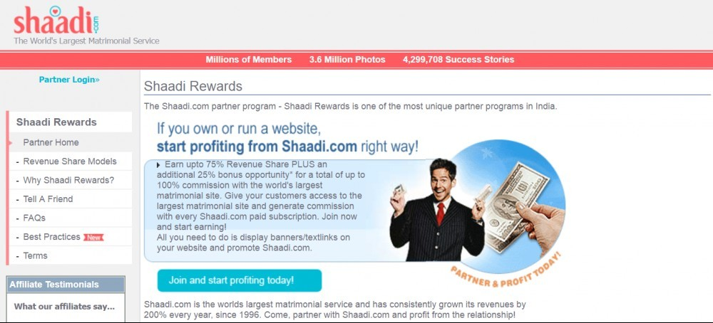 Commission payout for being Shaadi's affiliate