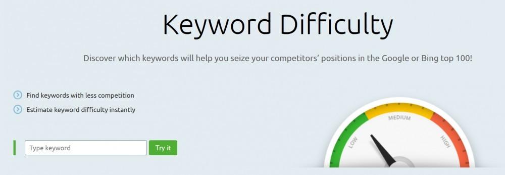 SEMRush's keyword difficulty feature