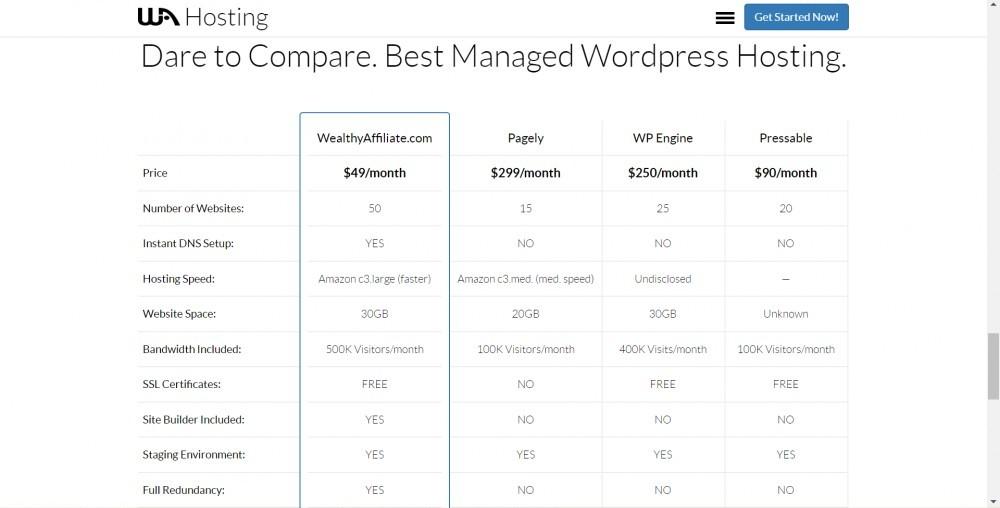 WA Hosting comparison chart (features revealed alongside famous hosting firms) - 1
