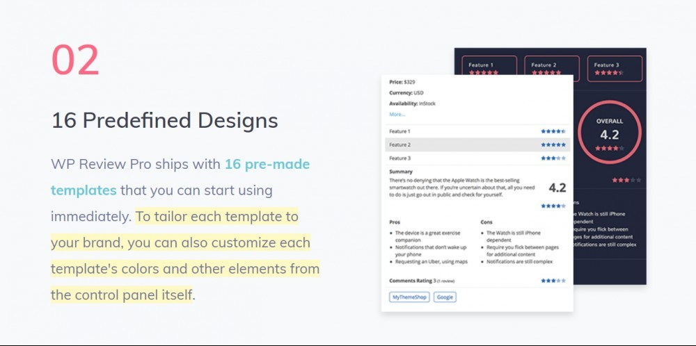 WP Review pro 16 pre-designed templates