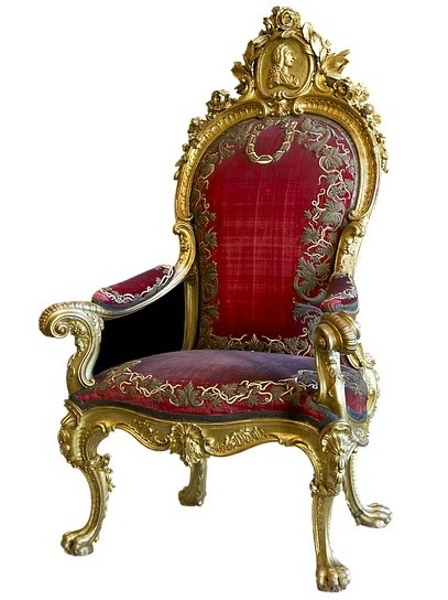 Antique chair, upholstered with red velvet