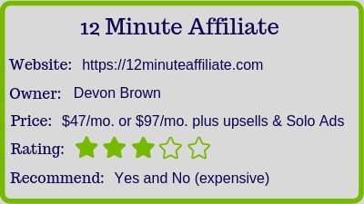 The 12 Minute Affiliate? review rating