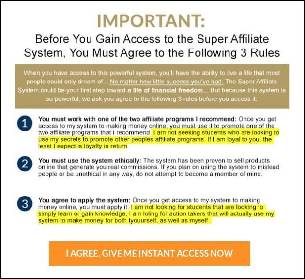 super affiliate system review of sign up rules