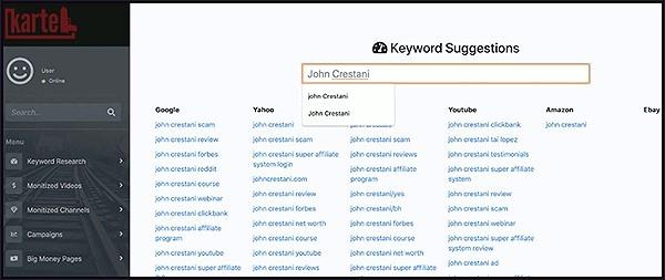 kartel has a keyword search tool