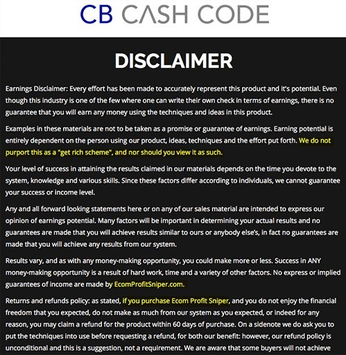 cb cash code disclaimer not updated