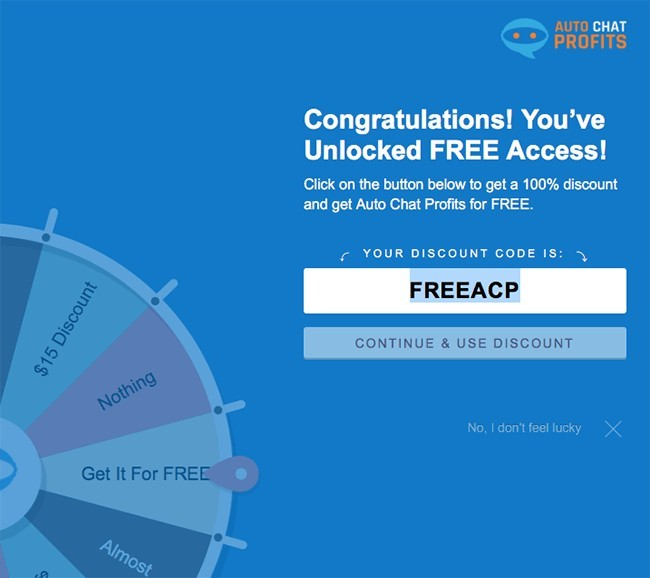 auto chat profits spin wheel for discount