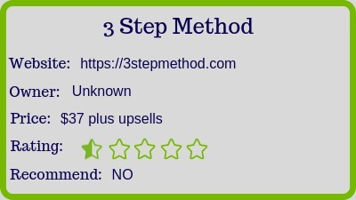 The 3 Step Method review rating