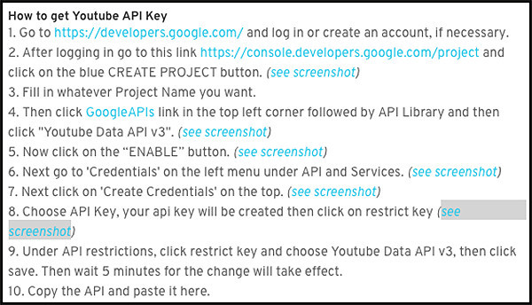 instuctions for youtube api key