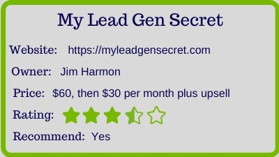 my lead gen secret review - rating