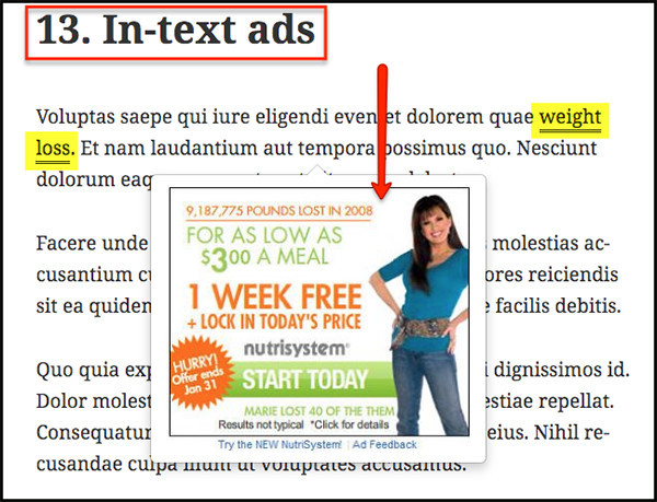 text ads can have image or video