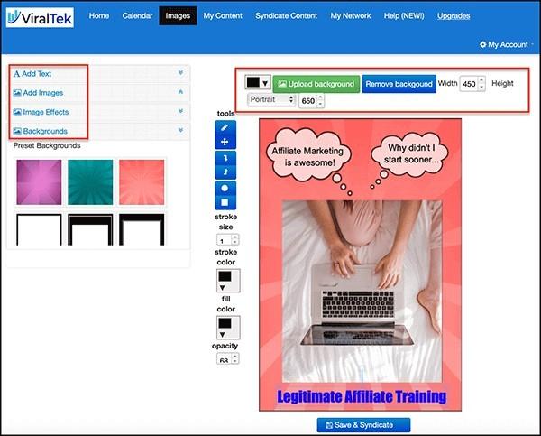 viraltek image editor has many functions