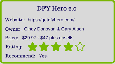 dfy hero 2.0 review - rating