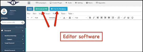 software includes an editor