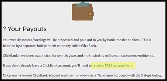 just one sentence to join clickbank