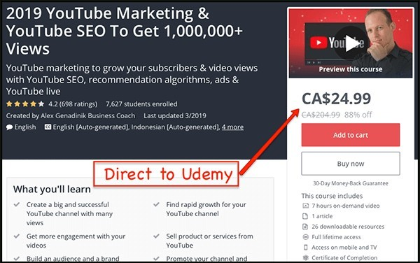 udemy course about youtube marketing
