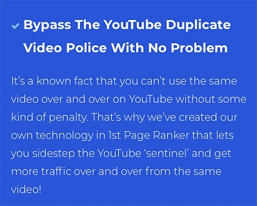 1stpageranker bypasses youtube duplicate policy