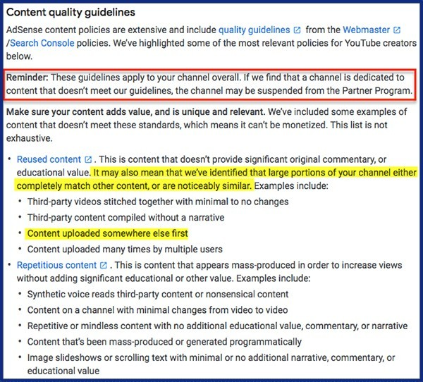 youtube quality guidelines