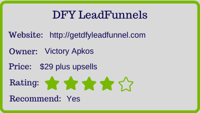 The DFY LeadFunnel review - rating