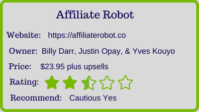 the affiliate robot review - rating