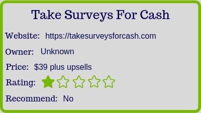 Take Surveys For Cash (review) rating